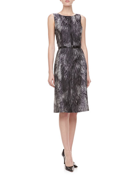 Fur-Print Brocade Dress