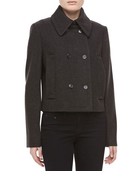 Melange Wool Double-Breasted Coat, Charcoal