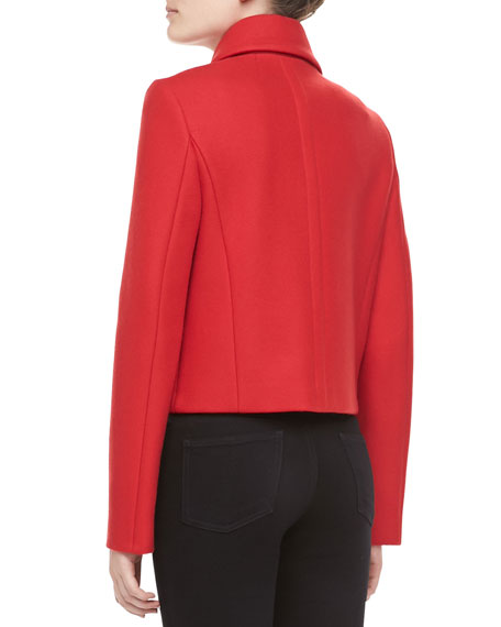 Melange Wool Double-Breasted Coat, Crimson
