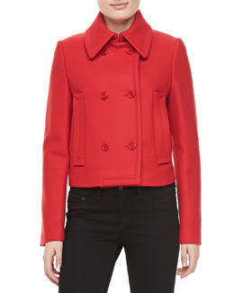 Michael Kors Melange Wool Double-Breasted Coat, Crimson
