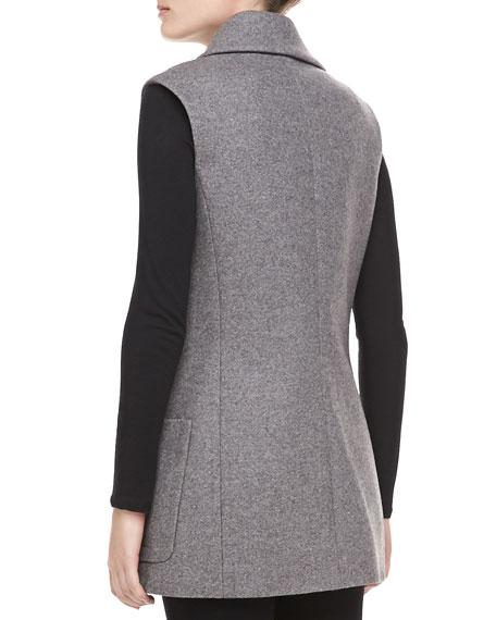 Melange Wool Double-Breasted Vest, Banker