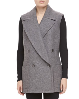 Michael Kors Melange Wool Double-Breasted Vest, Banker