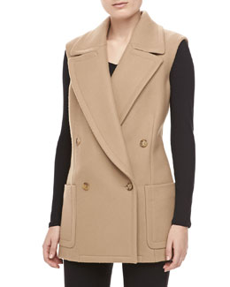 Michael Kors Melange Wool Double-Breasted Vest, Fawn