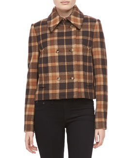 Michael Kors Champlain Plaid Wool Short Coat