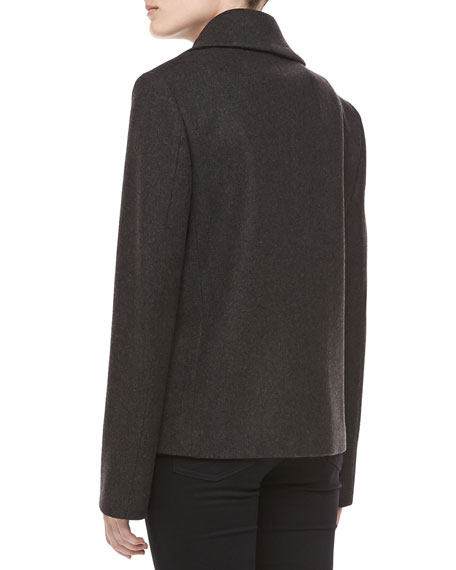 Felted Melange Wool Pea Coat, Charcoal