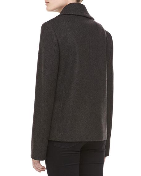 Felted Melange Wool Pea Coat, Charcoal