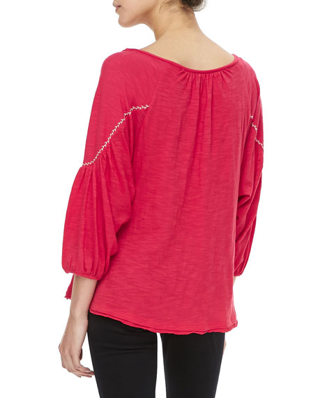 Santa Fe Embroidered Peasant Top