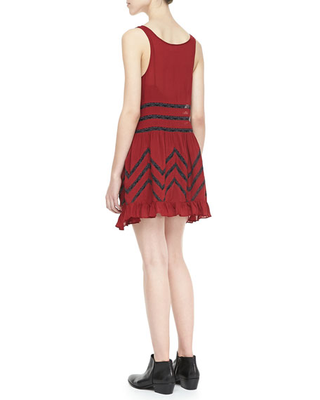 Voile Mix-Stripe Trapeze Dress