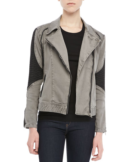 Textured-Panel Moto Jacket