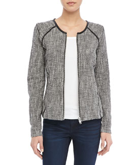 Maison Scotch Boucle Zip Sweater Blazer, Black/White