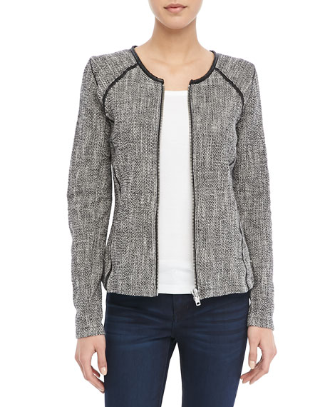 Boucle Zip Sweater Blazer, Black/White