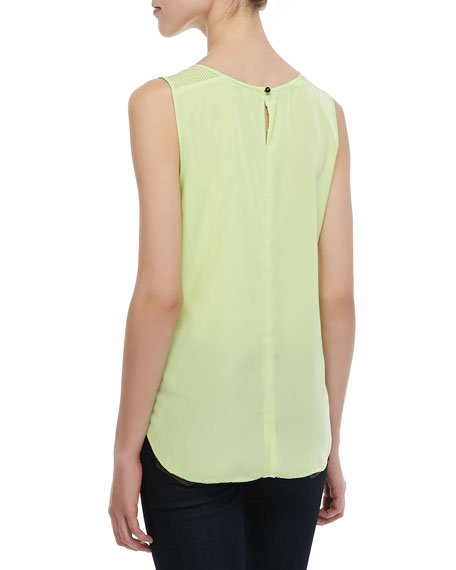Sleeveless Perforated-Panel Top