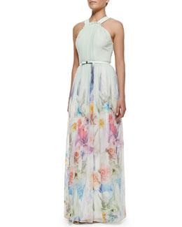 Ted Baker London Beula Floral Print Pleated Maxi Dress, Pale Green