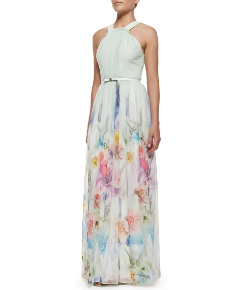 Beula Floral Print Pleated Maxi Dress, Pale Green