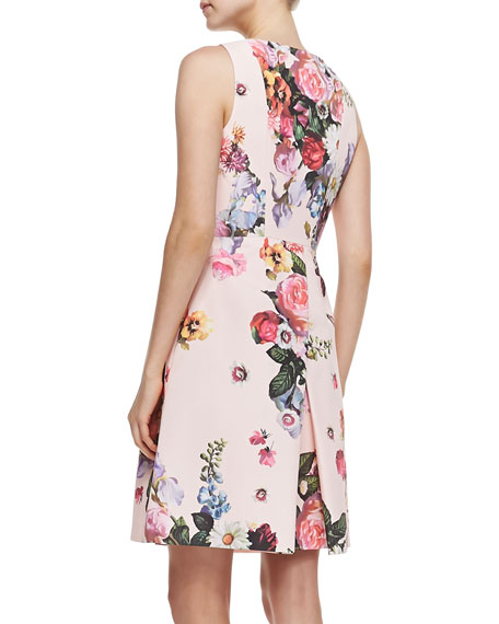 Ted Baker London Deavon Oil-Painting-Print Sheath Dress
