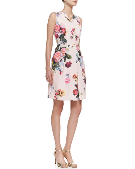 Deavon Oil-Painting-Print Sheath Dress