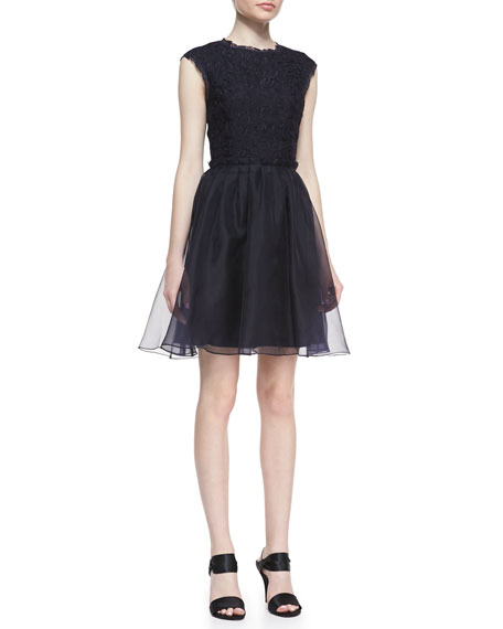 Jessika Lace Fit-And-Flare Dress, Navy