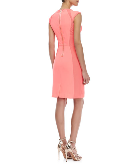 Jineen Cap-Sleeve Sheath Dress, Bright Pink