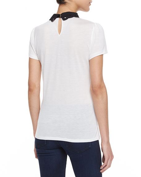 Mistey Collar & Tie Short-Sleeve Top
