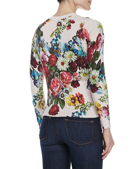 Edryss Floral Oil Painting Print Sweater, Nude Pink
