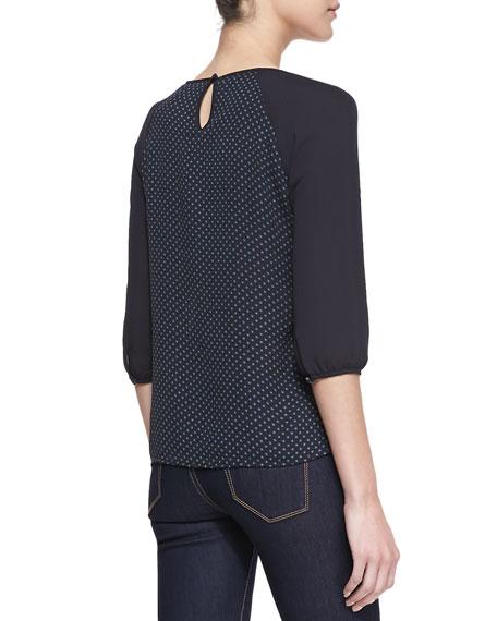 3/4-Sleeve Mixed-Print Blouse