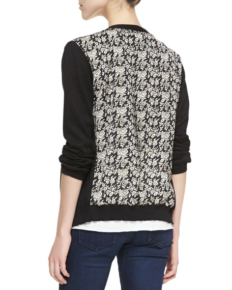 Long-Sleeve Floral Print-Back Cardigan, Black