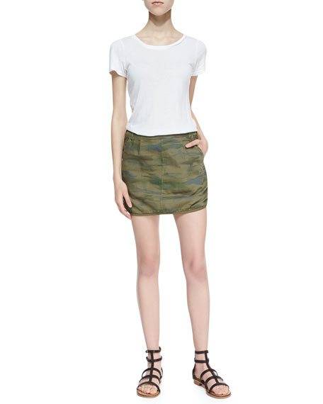 Camo-Print Button-Trim Miniskirt