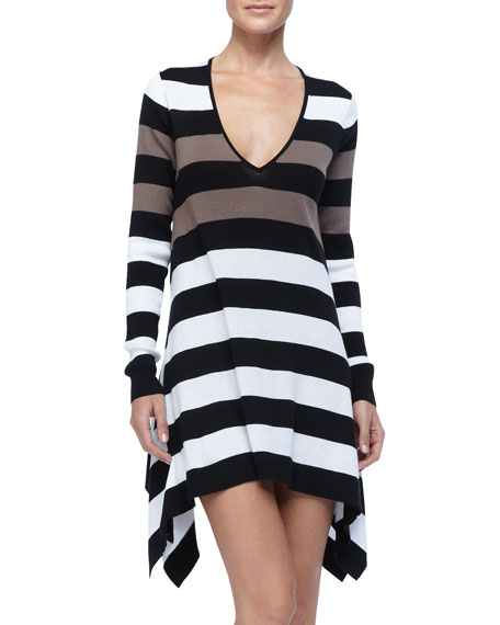 Rugby Striped High-Low Beach Sweater Cover Up