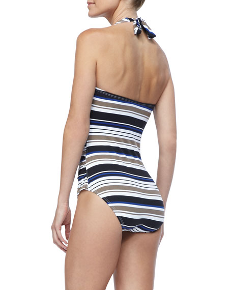 Variegated Striped Halter Top One Piece