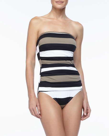 Rugby Striped Bandeau One Piece