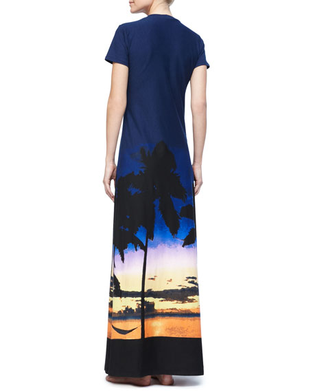 Sunset Palm Tree Long T-Shirt Dress