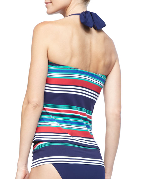 Variegated-Striped Halter Tankini