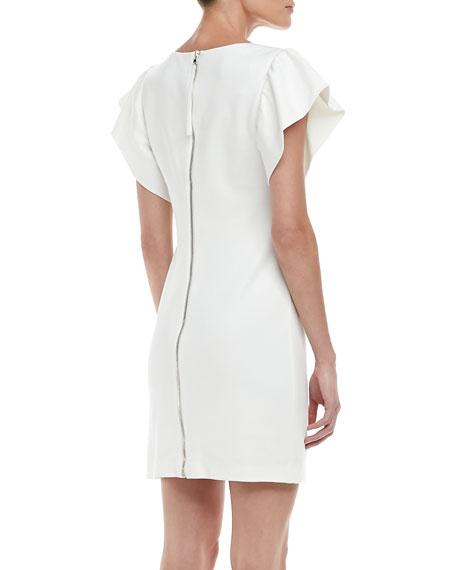 Odele Exaggerated-Sleeve Dress, Whitewash