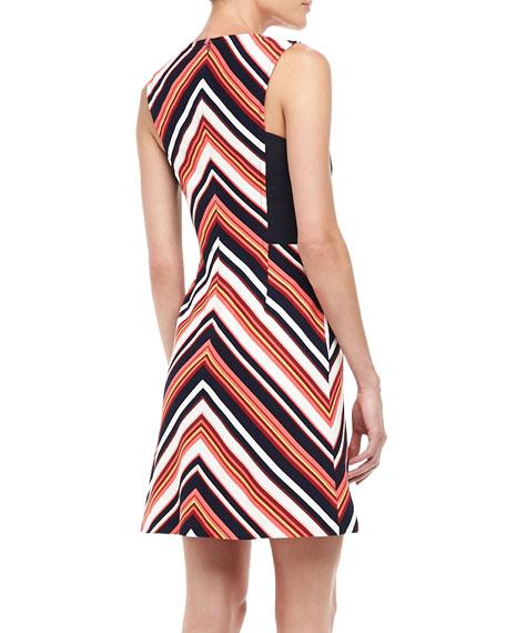 V-Stripe Ponte Dress