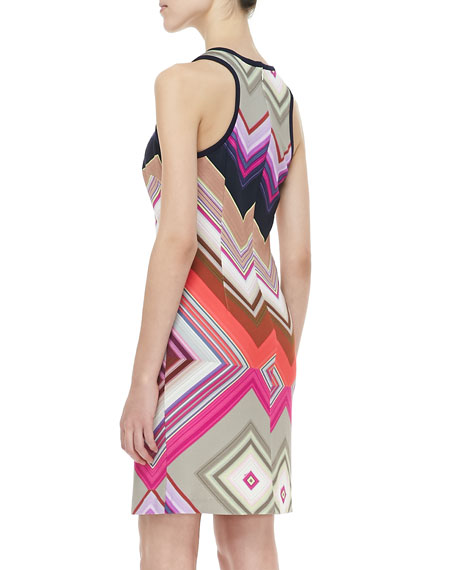 Sleeveless Scuba Dress, Multicolor