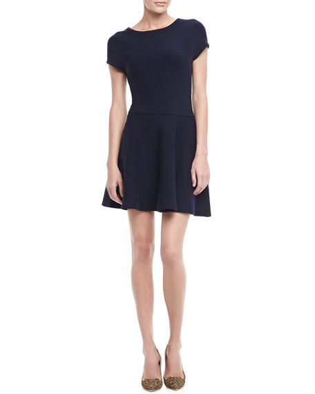 Cozumel Cap-Sleeve Crepe Dress, Indigo
