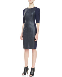 Trina Turk Branice 3/4-Sleeve Leather Dress, Indigo