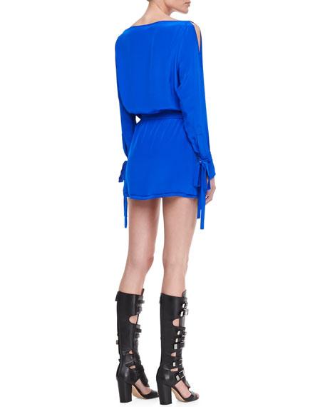 Flavia Blouson Dress with Ties, Cobalt