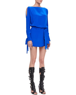Alexis Flavia Blouson Dress with Ties, Cobalt