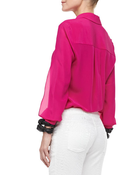 Bora Blouse with Slits, Fuchsia