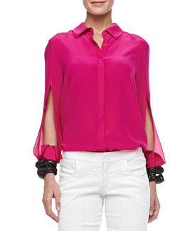 Alexis Bora Blouse with Slits, Fuchsia