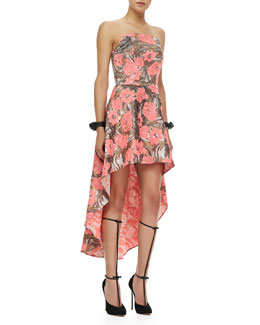 Alexis Madame Strapless High-Lo Dress, Metallic Rose