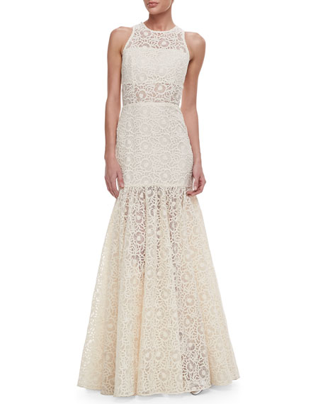 Victor Lace Embroidered Sleeveless Gown