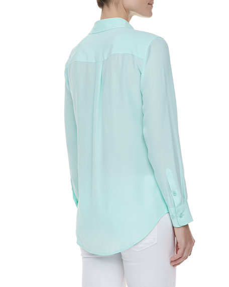 Vintage Slim Signature Blouse, Ice Green