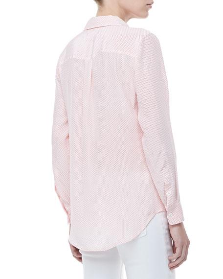 Linear Hoops Slim Signature Silk Pocket Blouse