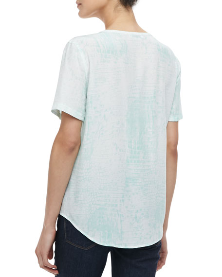 Riley Bleached Crocodile-Print Silk Tee