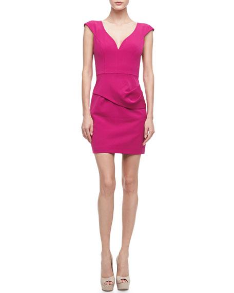 Dame V-Neck Stretch Gabardine Dress