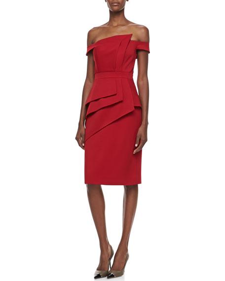 La Reina Off-the-Shoulder Cocktail Dress, Sangria
