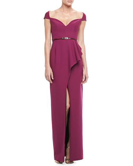 Prestige Belted-Waist Gown