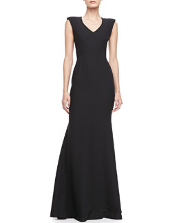 Black Halo Eve Jagger V-Neck Lace-Back Gown